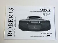 ROBERTS CD9979 CONCERTO DAB FM RADIO *** INSTRUCTION MANUAL BOOKLET ONLY ***