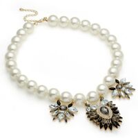 Womens Ivory White Pearl bead Statement Necklace