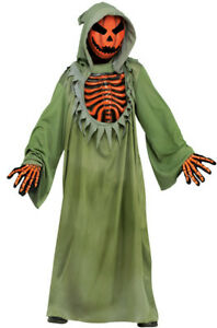 Pumpkin Reaper Glow Chest Halloween Child Kid Scary Costume Size Large 12-14