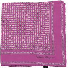 SALVATORE FERRAGAMO Poche Carré / MOUCHOIR ROSE multi-flower motif 100% SOIE