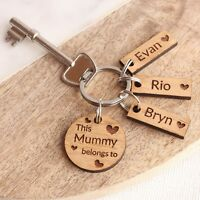 Personalised Oak 'This Mummy Belongs To' Keyring, Mothers Day Gifts, Birthday