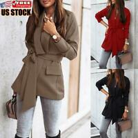 Women's Collar Suit Jacket Coat Blazer Ladies Solid Casual Long Sleeve Cardigan