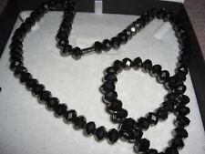 Glasperlen Schmuckset geschliffene Braune Perlen Kette + Armband