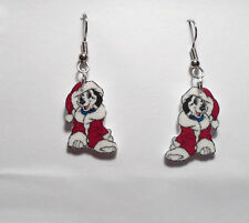 101 Dalmatian Earrings Puppy in Santa Suit Charms