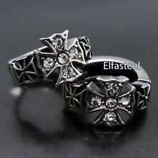 Men's Women's Silver Cross Cubic Zirconia 316L Stainless Steel Huggie Earrings