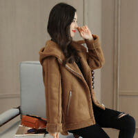 Winter Womens Lamb Wool Fur Lined Suede Coat Hooded Thick Warm Motorcycle Jacket
