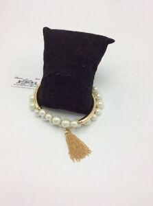 $42 Anne Klein gold tone imitation pearl & Tassel stretch bracelet AK 506