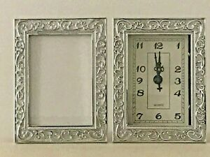 Silver Ornate Baroque/Rococo Vintage Style Table Clock Analogue Photo Frame NEW