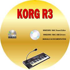 Korg R3 Synthesizer Vocoder WINDOWS/MAC Tone Editor Librarian & Manuals CD-ROM
