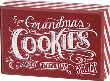 "NEW~PRIMITIVE WOOD BOX SIGN~""GRANDMA'S COOKIES MAKE EVERYTHING BETTER""~Christmas"