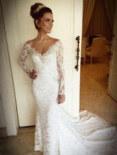 Lace Tulle V Neck Long Sleeve Wedding Dresses