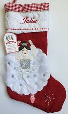 POTTERY BARN KIDS RED QUILTED CHRISTMAS STOCKING BALLERINA *JULIA* NEW DEFECT