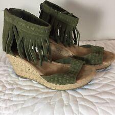 Minnetonka Womens Green Suede Fringe Ankle Cork Wedge Sandals Size 6