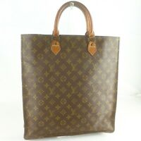 Auth LOUIS VUITTON SAC PLAT Old Model Tote Bag Shopping Purse Monogram Brown