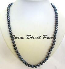 """36"""" Inch LONG Round 7-8mm Peacock Black Pearl Necklace Cultured Freshwater"""