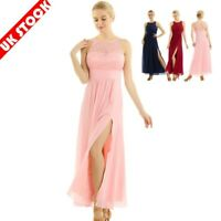 Womens Lace Chiffon Wedding Bridesmaid Dress Ladies Embroidered Prom Party Gowns