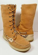 SPERRY Top-Sider Tan Suede Lace-Up Women's Boots US Size 8.5M *EUC*