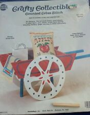 Counted Cross Stitch Kit Apples Wagon Country Wooden Yarn Stitch Sew Wood Craft