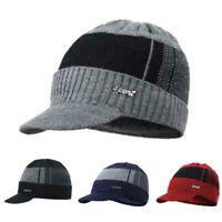 Men's Winter Warm Hat Knit Visor Beanie Fleece Lined Billed Beanie with Brim Cap