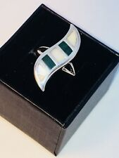 Vintage Taxco Sterling Silver, .925 Mother Of Pearl And Malachite Ring