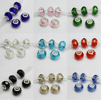 10Pc Murano Lampwork Big Hole Czech Glass Beads Fit For Bracelet Finding 14x9MM