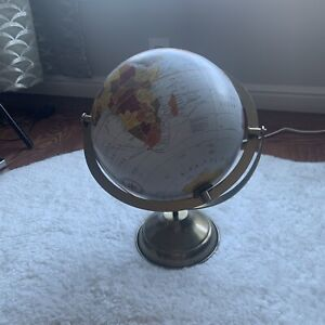 """Rustic Blue & Gold World Map Globe 15"""" NEW Home Console Decor Travel The World"""
