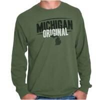 Michigan Original Souvenir Tourist State MI Long Sleeve Tshirt Tee for Adults