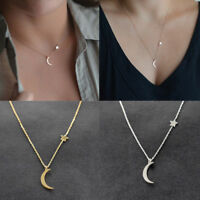Women's Moon Star Pendants Choker Necklace Gold Silver Long Chain Simple Jewelry