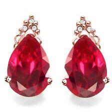 RUBY & DIAMOND EARRINGS 10k ROSE GOLD 1.70 CWT AAA
