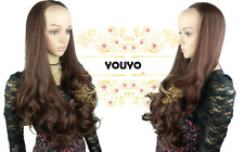 Layers Light Brown Straight Long Curly 3/4 Wig Hairpiece Half Wig 304-4/30