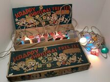 Lot of 2 1930's Scrappy Cartoon Christmas Tree Lights Mazda Lamps Works Org Box