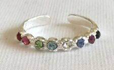 Toe Ring ! New ! Sterling Silver (925) Adjustable Coloured Jewels