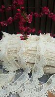 1m Vintage Cotton crochet lace trim OFF WHITE Ribbon wedding/cake decoration