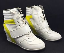 BLINK Womens White & Neon Yellow Adirr Wedge Trainers Sneakers | Eur 39 | US 8.5