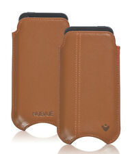 For Apple iPhone 5c Tan Real Leather NueVue Screen Cleaning Pouch Sleeve Case
