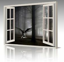 LARGE FANTASY FALLEN ANGEL WINGS IN FOREST WINDOW VIEW CANVAS ART PICTURE PRINT