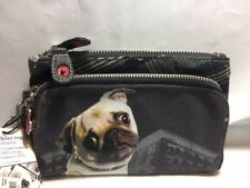 "Fuzzy Nation Pug Dog Wristlet Metallic Silver 8"" Large Wallet W/Cotton Lining NW"