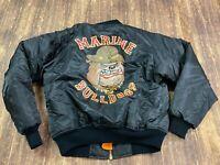 Rothco Marine Bulldogs Black/Orange Reversible MA-1 Flight Jacket - Small - NWT
