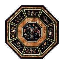 "52"" Marble Center Table Top Floral Semi Precious Stones Inlay Handmade Work"