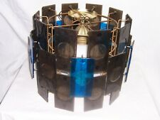 MCM 30 panel OOAK lucite smoke blue multi-colored swag chandelier light hanging