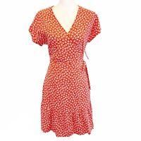 Old Navy Womens Small NWT Floral Daisy True Wrap Dress Short Sleeve