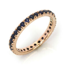 0.4 ct Natural Blue Sapphire Solid 14k Rose Gold Full Eternity Wedding Band Ring