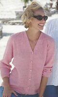"Classic V-neck Cardigan Knitting Pattern Raglan Sleaves  Dk and 4ply 32-42"" 795"