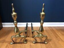 "Vintage Iron & Brass 16"" Tall Fireplace Andirons Fire Logs Log Holders"