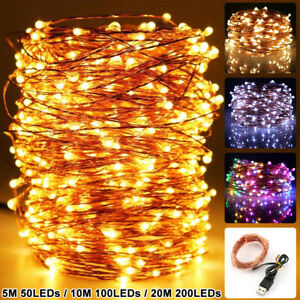 50-200 LEDs Copper Wire String Light USB 5M-20M Christmas Tree Fairy Lights