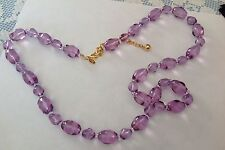 Vintage JOAN RIVERS Necklace-Clear Purple/Oval Indented Beads with Glowing Shine