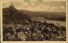 BRAUBACH Rhein AK 1928 Marksburg Panorama Ansicht mit Rhein Schiff passiert Ort