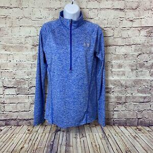 Under Armour Womens Blue Heat Gear 1/2 Zip Pullover Top Medium