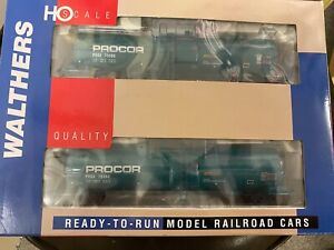 HO - WALTHERS - UTLX FUNNEL FLOW TANK CAR - GREEN -  2 PACK - NEW