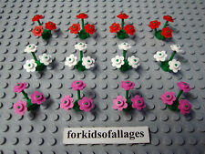 Lego Pink, White & Red Flowers w/12 Green Stems Girl Friends Flower Garden Lot
